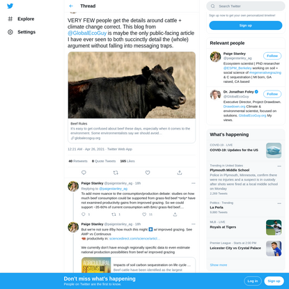 """Paige Stanley on Twitter: """"VERY FEW people get the details around cattle + climate change correct. This blog from @GlobalEco..."""