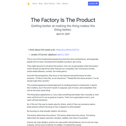 The Factory Is The Product