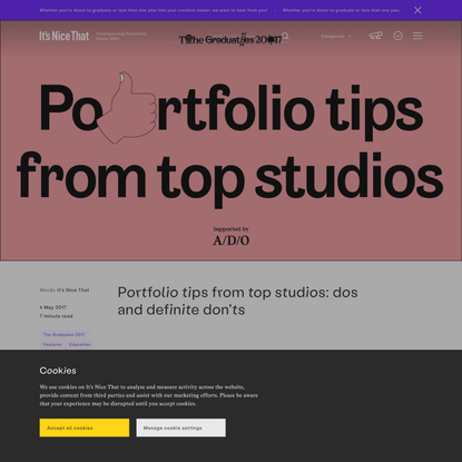 Portfolio tips from top studios: dos and definite don'ts