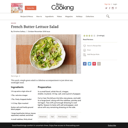French Butter-Lettuce Salad - Recipe - FineCooking