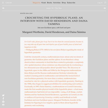 Crocheting the Hyperbolic Plane: An Interview with David Henderson and Daina Taimina | Margaret Wertheim, David Henderson, a...