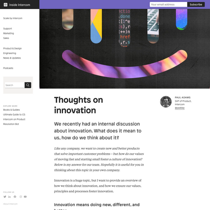 How We Think About Innovation at Intercom