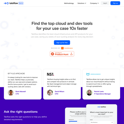 Taloflow | Find the top dev tools for your use case