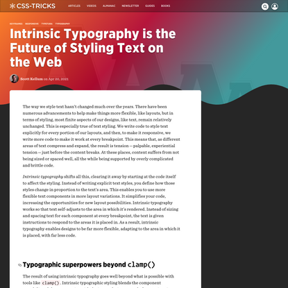 Intrinsic Typography is the Future of Styling Text on the Web   CSS-Tricks