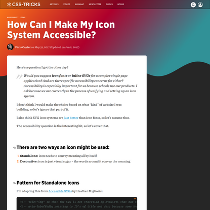 How Can I Make My Icon System Accessible? | CSS-Tricks