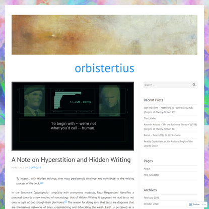 A Note on Hyperstition and Hidden Writing