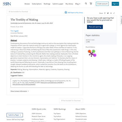 The Textility of Making by Tim Ingold :: SSRN