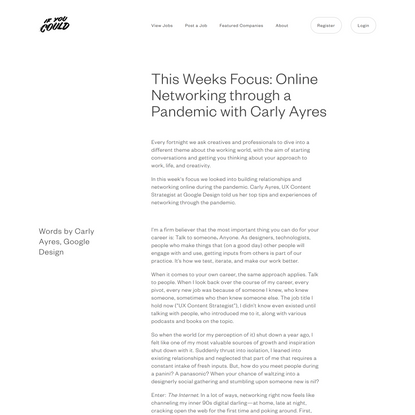 This Weeks Focus: Online Networking through a Pandemic with Carly Ayres