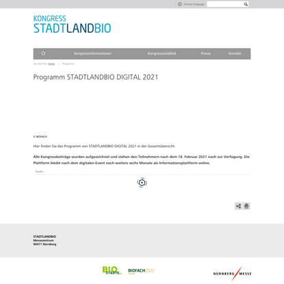 Programm STADTLANDBIO   STADTLANDBIO