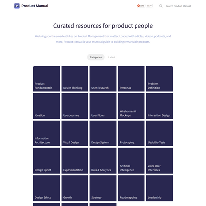 Product Manual - Curated resources for product people
