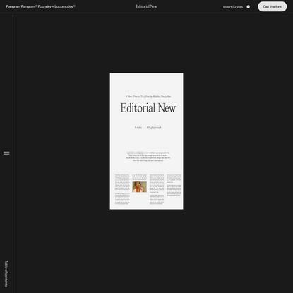 Editorial New | Pangram Pangram® Foundry + Locomotive®