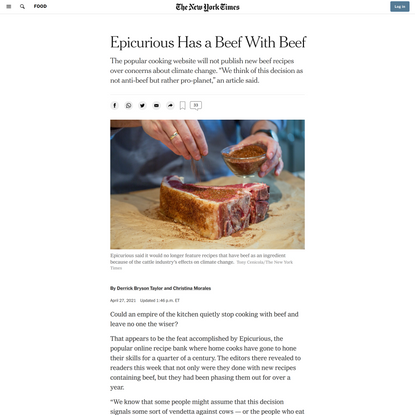 Epicurious Has a Beef With Beef