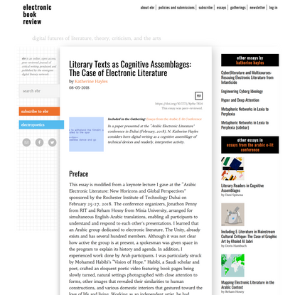 Literary Texts as Cognitive Assemblages: The Case of Electronic Literature › electronic book review