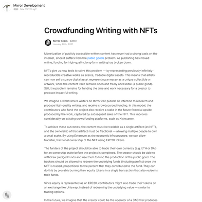 Crowdfunding Writing with NFTs — Mirror