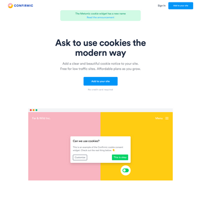 Confirmic cookie widget | Confirmic