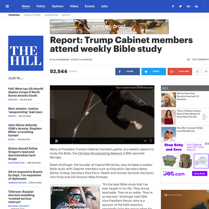 Report: Trump Cabinet members attend weekly Bible study