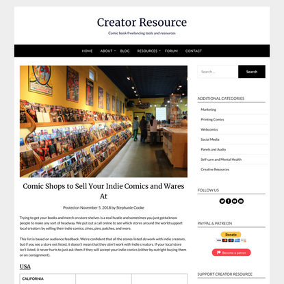 Comic Shops to Sell Your Indie Comics and Wares At   Creator Resource
