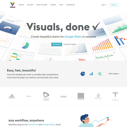 Create engaging charts and business graphics with Vizzlo.
