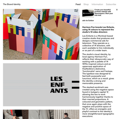 Harrison Fun brands Les Enfants, using 14 colours to represent the studio's 14 video directors - The Brand Identity