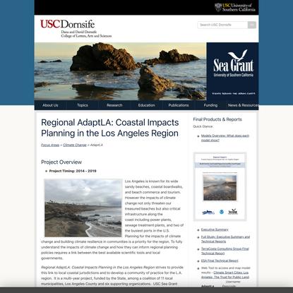 Regional AdaptLA: Coastal Impacts Planning in the Los Angeles Region > USC Sea Grant > USC Dana and David Dornsife College o...