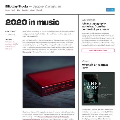 Elliot Jay Stocks   2020 in music