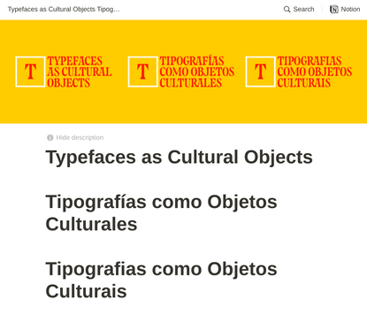 Typefaces as Cultural Objects - Tipografías como Objetos Culturales - Tipografias como Objetos Culturais