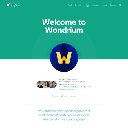Welcome to Wondrium | Viget
