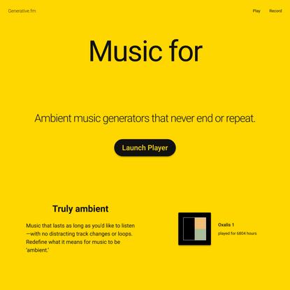 Generative.fm – Endless ambient music generators