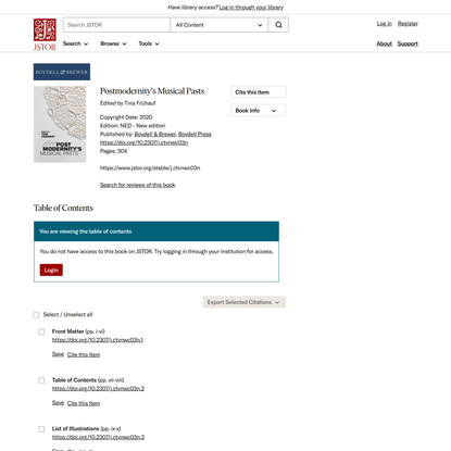Postmodernity's Musical Pasts on JSTOR