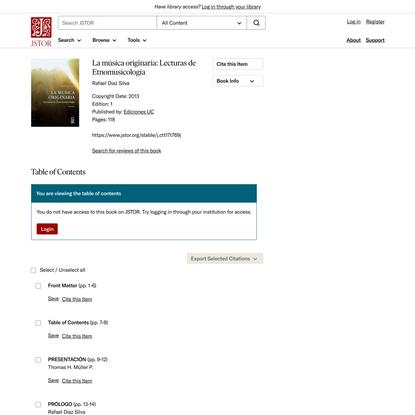 La música originaria: Lecturas de Etnomusicología on JSTOR