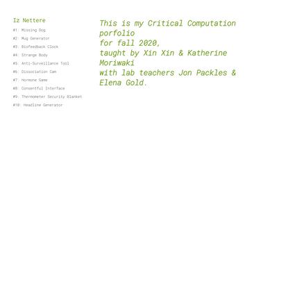 Iz Nettere | Critical Computation Portfolio
