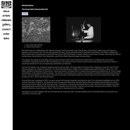 Michael Ranta - The Great Wall / Chanta Khat CD