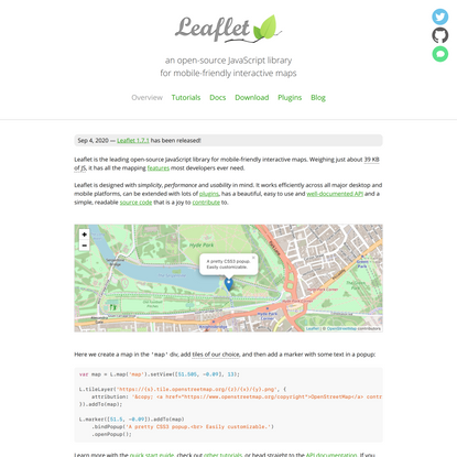 Leaflet — an open-source JavaScript library for interactive maps