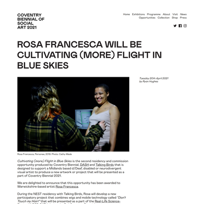 Rosa Francesca will be Cultivating (more) Flight in Blue Skies