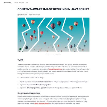 Content-aware image resizing in JavaScript   Trekhleb