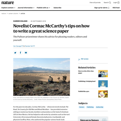 Novelist Cormac McCarthy's tips on how to write a great science paper