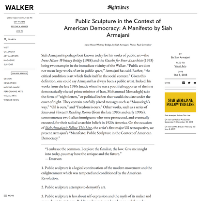 Public Sculpture in the Context of American Democracy: A Manifesto by Siah Armajani