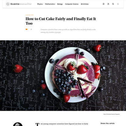 New Algorithm Solves Cake-Cutting Problem   Quanta Magazine