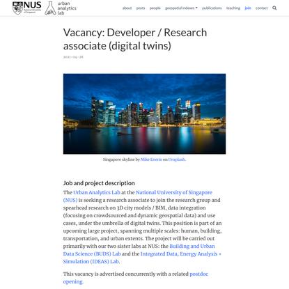 Urban Analytics Lab, Research Associate