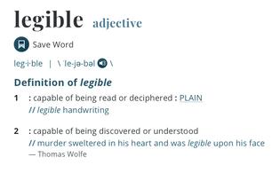 Legible definition –Merriam Webster