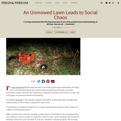 An Unmowed Lawn Leads to Social Chaos