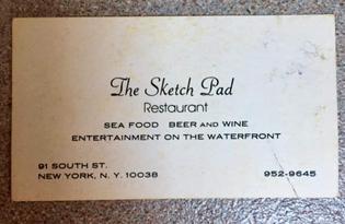 business card for Alex's restaurant