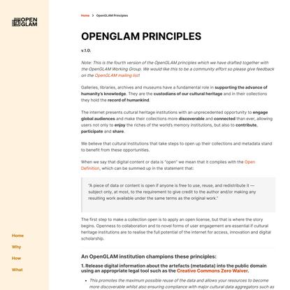 OpenGLAM Principles - OpenGLAM