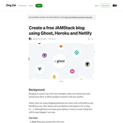 Create a free JAMStack blog using Ghost, Heroku and Netlify