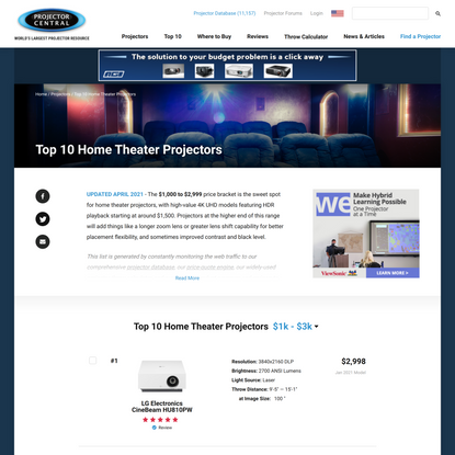 Best Selling Home Theater Projectors under $3000 April 2021