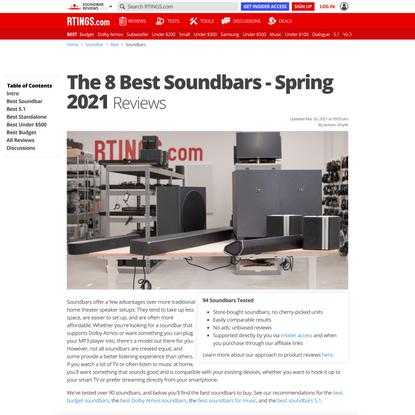 The 8 Best Soundbars - Spring 2021: Reviews