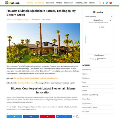 I'm Just a Simple Blockchain Farmer, Tending to My Bitcorn Crops