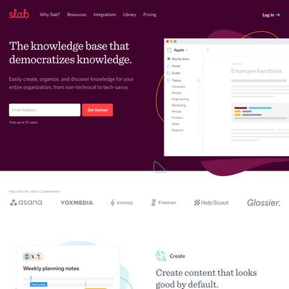 Slab - Knowledge Base & Wiki That Democratizes Knowledge