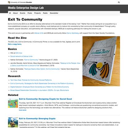 Exit To Community | Media Enterprise Design Lab | University of Colorado Boulder
