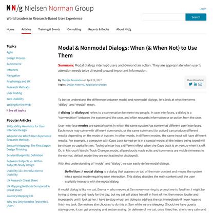 Modal & Nonmodal Dialogs: When (& When Not) to Use Them